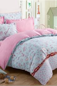 modern blue and pink cute characters twin kids bedding sets