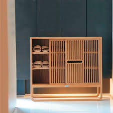 Contemporary shoe rack / teak AMORE PLATO