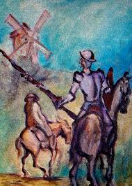 don quixote painting don quixote with windmill by kevin middleton