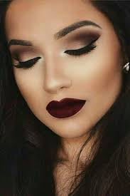 love this smokey eye burgundy lip bride make up