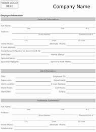 basic personal information form employee personal information form business record and details