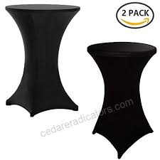 reliancer 2 pack 30inch highboy cocktail round spandex table cover four way tight fitted stretch tablecloth