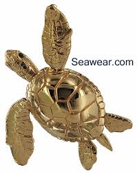 14kt gree sea turtle with emerald eyes with all moving flippers tail and head