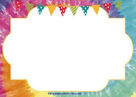 Free Tie Dye Invitation Template Free Printable