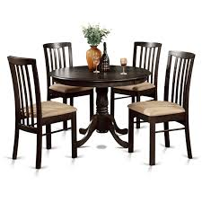 Haddie Light Tone Round Table Set Of 4 Dining Chairs Dining Table Set Round Pedestal Heavy