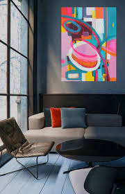 Oil Paintings For Living Room Bold Colorful Large Abstract Art Oil Painting By Danielle Nelisse