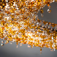 square amber coloured crystal chandelier