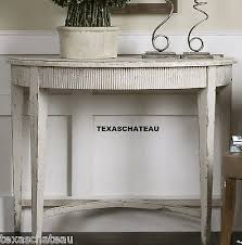 stunning half round accent table rustic tuscan french country antique white wood table half round