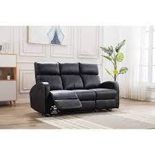 boston black leather 3 seater recliner
