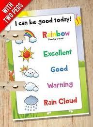 Details About Peg Reward Chart Weather Cloud Rainbow System Childrens Kids Behaviour Chart