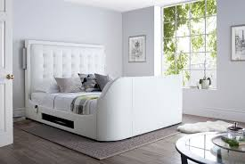 details about titan white leather king size tv bed with free sealy casoli mattress