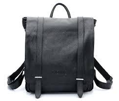 leather womens backpack leather shoulder purse black