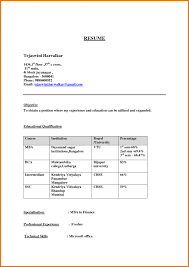 It Fresher Resume Format Download In Ms Word Blank For Mca Tech B