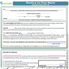 Georgia Notice To Pay Rent