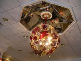 drop ceiling with ceiling design and blown glass chandelier also recessed lighting for decorating home ideas