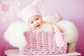 pink wicker basket child face sweet