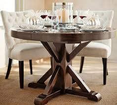 Image Ethan Allen Benchwright Extending Pedestal Dining Table Alfresco Brown Pottery Barn Pottery Barn Benchwright Extending Pedestal Dining Table Alfresco Brown