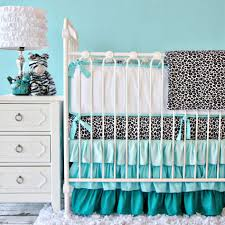 using pattern black and white blue unique baby girl crib bedding set including blue ruffle baby bed valance and light blue baby room wall paint image
