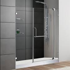 vigo 60 inch frameless shower door 3 8 clear glass chrome hardware with white base free