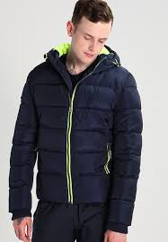 jacket sports puffer winter punch superdry navy lime for men