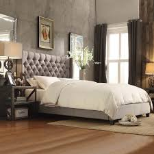 Beds - Bed Size: King-California King, Finish or Fabric: White-Grey-Blue- Silver