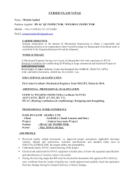 RESUME FOR QC INSPECTOR New Mechanical Inspector Resume