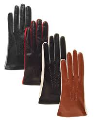 women s italian two tone silk lined lambskin gloves with contrast stitching