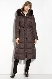 Lyst - Ellen tracy Long Quilted Coat with Fox Fur Ruff in Brown & Gallery Adamdwight.com