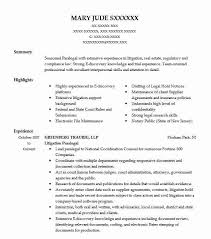 Litigation Paralegal Resume Example Greenberg Traurig Llp