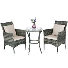 3pcs patio rattan furniture set chairs table garden coffee