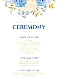 Wedding Ceremony Program Cover Navy Blue Gold Flowers Wedding Ceremony Program Templates By Canva