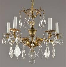 spanish brass crystal chandelier c1950 vintage antique red gold gilt light chandelier crystals crystal