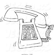 Small Picture vector of a cartoon ringing desk phone outlined coloring page by