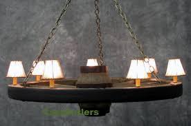 42 reion cast wagon wheel chandelier w rawhide shades