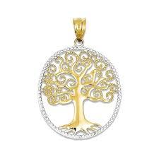 14K Yellow Gold Filigree Tree of Life Pendant (Two-Tone), Women\u0027s ...