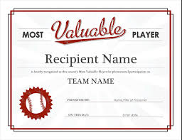 Most Valuable Player Award Certificate