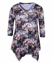 Zerdocean Size Chart Zerdocean Womens Plus Size Printed 3 4 Sleeve Tunic Top Loose Shirt