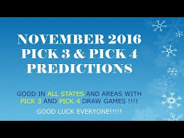 Monthly Pick 3 Pick 4 Charts November 2016