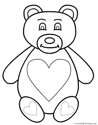 Small Picture Teddy Bear with Hearts Coloring Page Animals