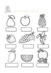 worksheet my favorite fruit is  english worksheet my favorite fruit is