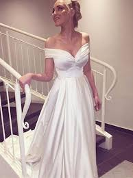 buy simple a line off the shoulder white long wedding dress with