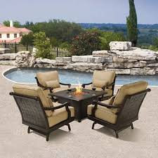 Impressive Patio Furniture Sets With Fire Pit Villa Chat Set Intended Decor
