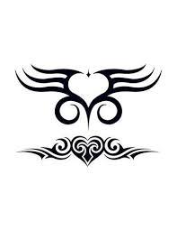 Dvě Srdce Tribal Nalepovací Tetování
