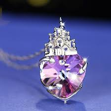 lovely and gorgeous swarovski element heart shaped castle of love crystal pendant women s sterling silver necklace
