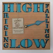 high low tide clock wood light blue