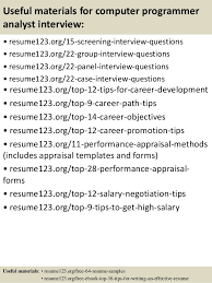 15 useful materials for computer programmer analyst programmer analyst resume sample