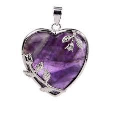natural purple amethyst quartz crystal tumbled chakra stone reiki healing stones heart shaped pendant diy necklace