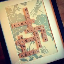 Family scrabble frame I used a wallpaper sample from B and Q and then  ordered the