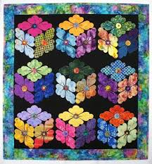 Flower boxes quilt pattern | Details By Diane. Flowers in the ... & Flower boxes quilt pattern | Details By Diane. Flowers in the shape of  tumbling blocks Adamdwight.com