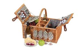 Perfect Picnic Plus Dilworth 4 Person Picnic Basket With Removable Insulated Cooler